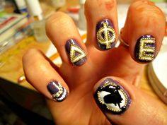 Deepher nails-that is intense! Sorority Nails, Sorority Sugar, Sorority Gifts, Delta Phi Epsilon, Alpha Xi Delta, Miss Kiss, Love Like Crazy, Rush Week, Greek Life