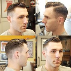 with a perfect Sunday style that's good for everyday. Slick Hairstyles, Hairstyles Haircuts, Haircuts For Men, Side Part Fade, Receding Hairline Styles, Brylcreem Hairstyles, Short Hair Cuts, Short Hair Styles, Greaser Hair