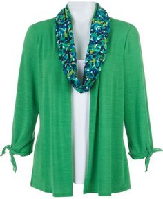 Notations offers effortless fashion in this scarf and duet cardigan set. Cardigan features a cascading open-front and solid inset. Separate infinity scarf completes the look. Petite Outfits, Petite Dresses, Modest Outfits, Cute Outfits, Modest Clothing, Green Cardigan, Petite Women, Spring Fashion, Infinity