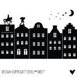XXXXXL Raamsticker Losse huisjes Sinterklaas Zwart
