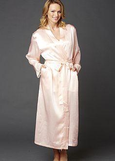 047bb8c158 Le Tresor Full Length Silk Robe - Lace Trim