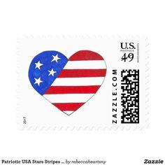 Patriotic USA Stars Stripes Heart American Flag Postage