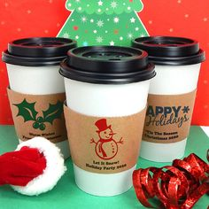 Holiday Cup Sleeve, Insulated Cup Sleeves, Holiday Party Cup Sleeves, Coffee Sleeve - Set of 20