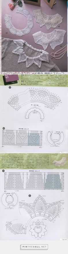 Crochet (Nr 42, 45) and knitted (Nr 43, 44) lace collars with charts.