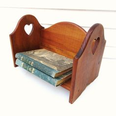 Wood #BookStand / Tabletop #Bookshelf / Desk Top Organizer, Wooden #Hearts