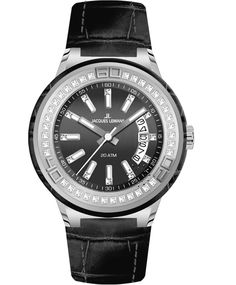 Jacques LEMANS Miami Crystal Ladies Black Leather Strap Η τιμή μας: 135€ http://www.oroloi.gr/product_info.php?products_id=34747
