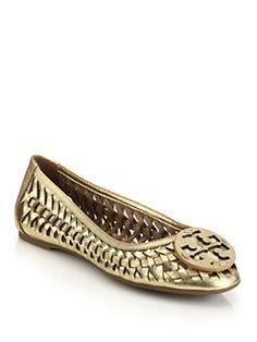 Saks Fifth Avenue Mobile. Tory Burch - Hurache Woven Metallic Leather  Ballet Flats