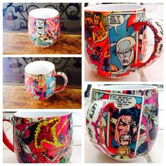 Marvel coffee mug Mod Podge does it again. I will make a whole collection! My son is making a Batman one :)