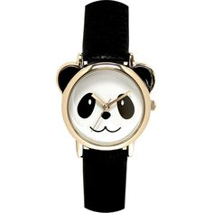 Womens Panda Dial Black Strap Watch found on Polyvore featuring jewelry, watches, quartz wrist watch, panda bear jewelry, buckle jewelry, dial watches and panda jewelry