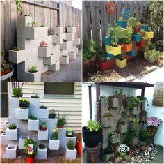 blocs en béton peints en couleurs vives pour former un mur végétalisé