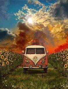 summer landscape Throw Pillow by Bekim ART - Cover x with pillow insert - Indoor Pillow - Wohnwagen Volkswagen Bus, Vw T1, Summer Landscape, Landscape Art, Combi Hippie, Pintura Hippie, Vw Caravan, Vw Camper, Vw Beach