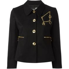 Love Moschino chain detail blazer (24.440 RUB) ❤ liked on Polyvore featuring outerwear, jackets, blazers, black, blazer jacket, love moschino and love moschino jacket