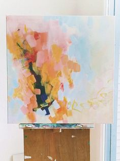 How to make the beauty of blossom season last all year: hang an abstract painting inspired by peachy petals. #etsy