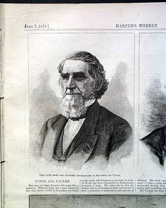 Portrait and brief bio of the late Judge Asa Packer, HARPER'S WEEKLY, New York, June 7, 1879.