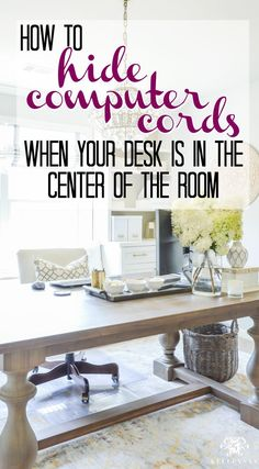 Not sure if you can put your desk in the center of the room without those ugly computer cables? See how to hide your computer cords when your desk is in the center of the room- this is a game changer idea for your home office!