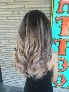 Beige tone balayage with dark brown roots done by Alexis in Atwater Ca contact me for her info