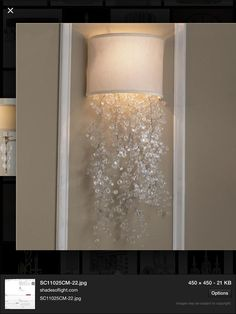 Dripping Crystal Shade Sconce 2 colors I absolutely love this fixture! Crystal Sconce, Crystal Wall, Bathroom Wall Sconces, Do It Yourself Home, Lamp Shades, Fabric Shades, Of Wallpaper, Light Fixtures, Light Fittings