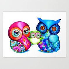 I absolutely love this artist's work. I've purchased several of her cards. Some for framing. Owl Art  owl art prints owl artwork owl nursery  by AnnyaKaiArt