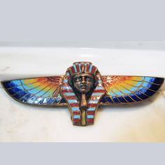 Vintage Egyptian Revival King Tut Brooch with Polychrome Enamel on Brass