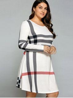 OFF-WHITE Casual Plus Size Striped Knee Legnth T-Shirt Dress 3XL
