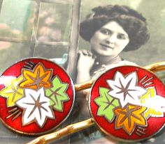 50s BUTTON hair pins Enamel with Autumn leaves by AlliesAdornments, $16.25