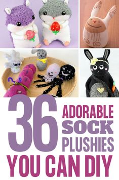 36 Easy DIY Sock Plushies and Animals You'll Want to Make this Weekend Sock Puppets, Sock Dolls, Plush Animals, Plushies, Making Out, Easy Diy, Teddy Bear, Socks, Diy Crafts