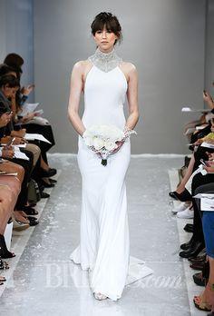"Theia Wedding Dresses   Fall 2015   ""Arianna"" sleeveless crepe sheath wedding dress with a crystal encrusted turtleneck"