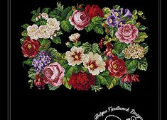 Needlepoint, Floral Wreath, Cross Stitch, Wreaths, Fruit Tart, Painting, Home Decor, Beautiful Flowers, Roses