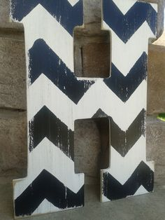 Pottery barn style Chevron letters, Custom distressed wood letters for home decor - 13.5 in wood letters. $18.00, via Etsy.