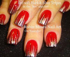 Nail Art Tutorial | DIY Easy Christmas Nail Art | Red Black & Silver Str...
