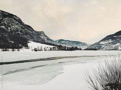 Frozen Lake in White Scandinavian Winter Landscape (Norway) by VISUALSPECTRUM for Stocksy United