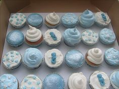 Patterns and different textures Baby Shower Cupcakes For Boy, Baby Cupcake, Baby Boy Cakes, Cupcake Cookies, Baby Shower Parties, Baby Boy Shower, Christening Cupcakes Boy, Baby Boy Christening, Shower Bebe
