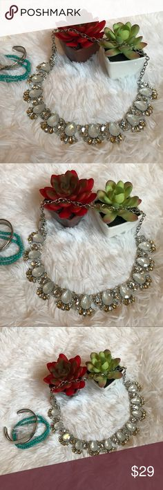 """Just In Glamorous White Crystal Necklace  Beautiful and elegant Silver plated brass material, Silver color & White/Gold Crystal Gems. Approx measure 16""""-18"""" L Jewelry Necklaces"""