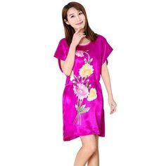 Sexy Fashion Women Sleepwear Robes Nightwear Shirt Sleep Night Dress  Nightgown Ladies Fuax Silk Sleeping Gown 7804dbfa5