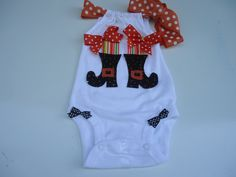 Baby Girls, First Halloween onesie, Toddler Girls Halloween Witches Boots  Tee Shirt.. $20.00, via Etsy.