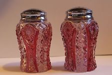 Imperial Glass Octagon Daisy Button Pattern Flash Ruby Salt and Pepper Shakers