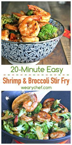 This Chinese Shrimp and Brocooli Stir Fry recipe is a 20-minute meal you'll love! Stir Fry Recipes, Fish Recipes, Seafood Recipes, Asian Recipes, Dinner Recipes, Cooking Recipes, Healthy Recipes, Stir Fry Meals, Aloo Recipes