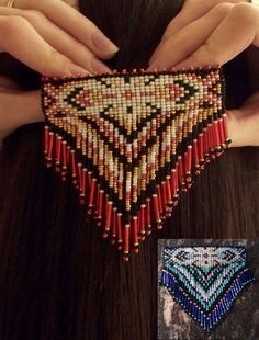 SALE Beautiful Red or Blue Native Style Beaded Barrette- Made to Order on Etsy, $27.72 CAD