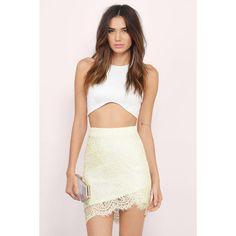 Tobi Lenora Lace Midi Skirt ($42) ❤ liked on Polyvore featuring skirts, yellow, midi skirt, mid calf skirts, lace midi skirt, knee length lace skirt and lace skirt