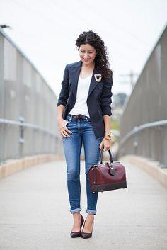 Navy pinstripe blazer, white tee, jeans, burgundy handbag, and spectator pumps via @Kelly Teske Goldsworthy Teske Goldsworthy Alterations Needed