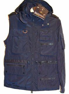Paul&Shark Yachting AUTHENTIC Men's Navy Italy Coat Jacket Vest Hood Sz M $1029  #PaulSharkYachting #BasicJacket