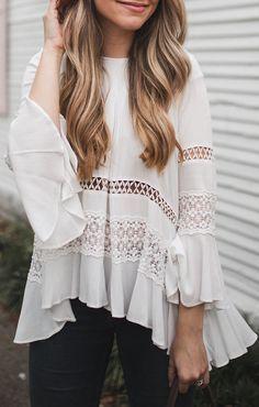 Flowy boho white shirt for summer style