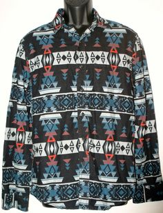 Western shirts · American Eagle Vintage Flannel Black Blue Aztec Mens  Casual Button Up Sz M  AmericanEagle   112e713b6