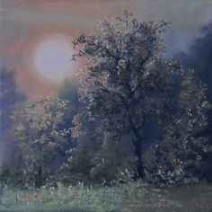 Moonlit Frost by Ruth Mann Pastel ~ 8 inches x 8 inches