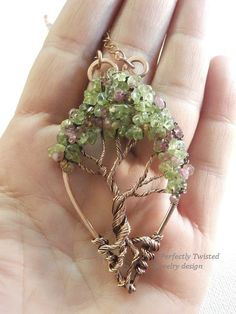 Wire Wrapped Tree of Life Bonsai Pendant Peridot Pink