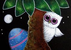 Art: ALBINO OWL - WHERE IS MY EASTER EGG by Artist Cyra R. Cancel