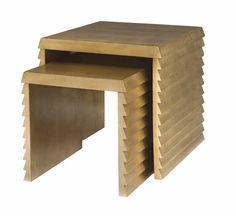 "Bernhardt Furniture Jet Set Nesting Tables Features:   Maple veneers Gold Leaf finish Adjustable glides  Dimensions:  W 24"" x D 24"" x H 24"""