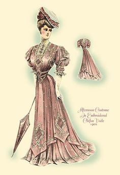 Afternoon Costume in Embroidered Chifon Voile - Art Print