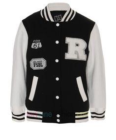 Black Letterman R Varsity Baseball Bomber College Jacket For Women