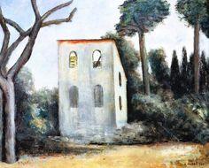 """Carlo Carrà (Quargnento 1881-Milano 1966), """" La casa abbandonata"""", 1930. olio su tela, cm 64x77  collezione privata"""